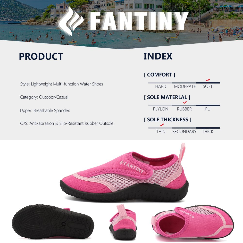 CIOR Fantiny Toddler Boy & Girls' Water Aqua Shoes Swimming,DNDDKSX,03Pink,28 by CIOR (Image #4)