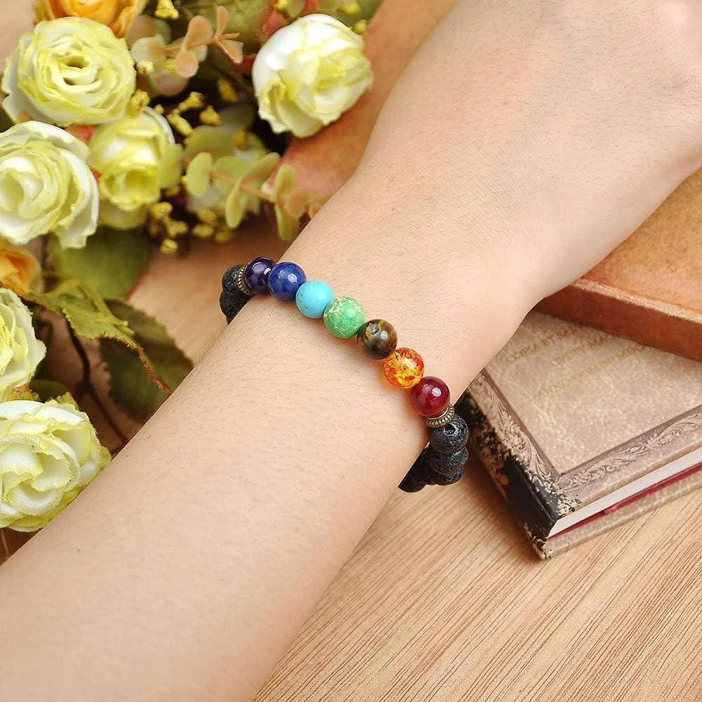 7 Chakra Reiki Color Natural Piedra YUIP 5 pcs Pulsera de Piedra Natural con Ojo de Tigre Para Hombres y Mujeres