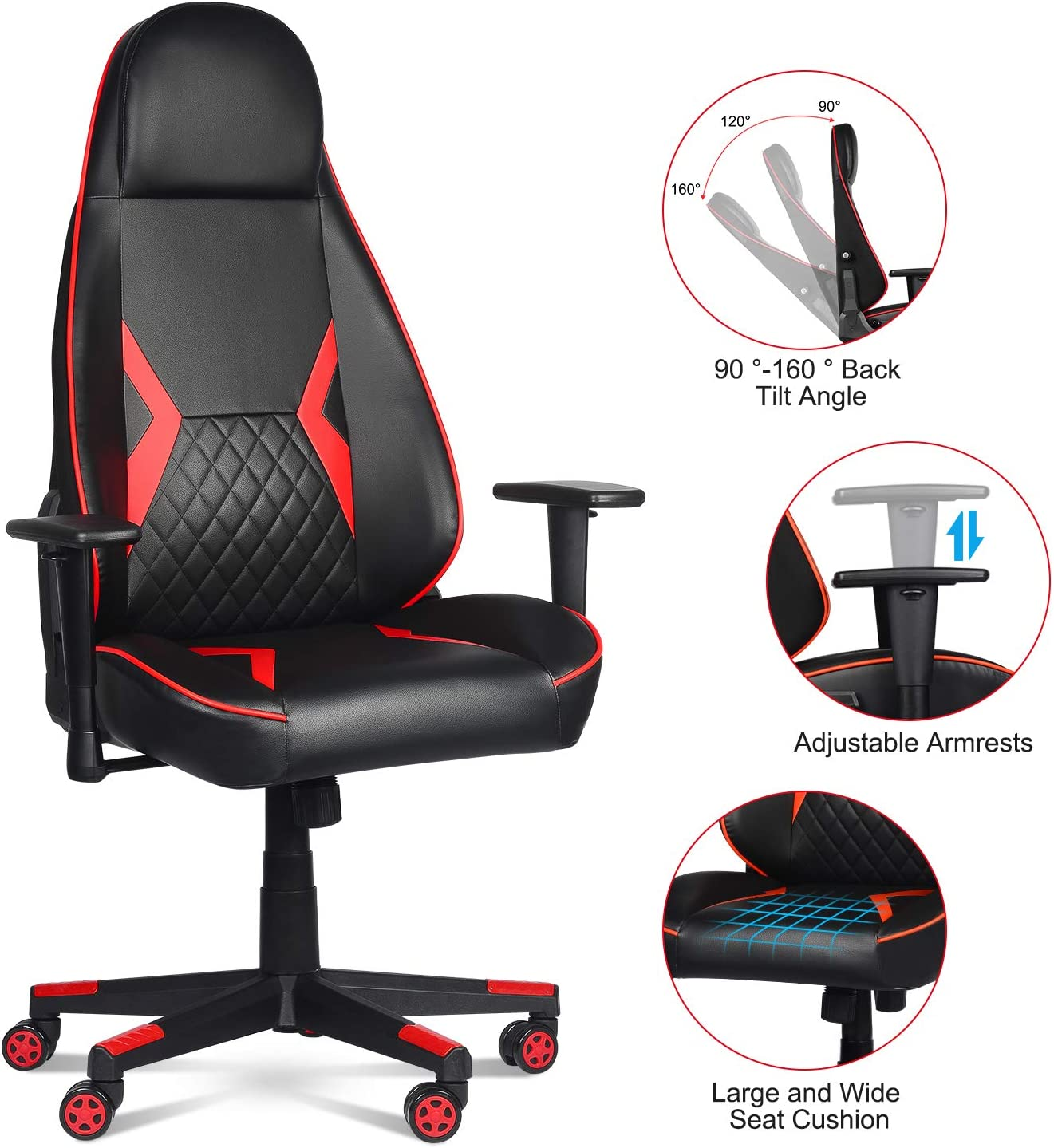 LENTIA Gaming Chair Adjustable Angle Reclining Computer Chair