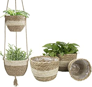 Indoor Outdoor Basket Planters,Natural Seagrass Flower Plant Pots, Beige