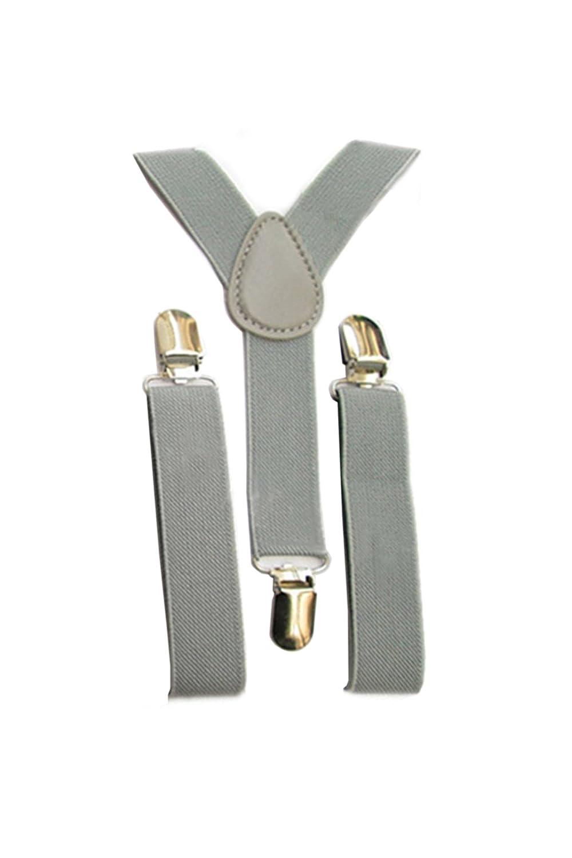SODIAL(R) Kids Boys Girls Y-Back Suspender Elastic Adjustable Clip-On Braces Light Grey 057526A3