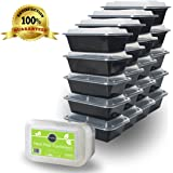 DuraHome - Food Containers with Lids - 24oz. Rectangular Microwaveable Reusable Black Plastic Meal Prep Container, Premium Quality, Set of 20, leakproof