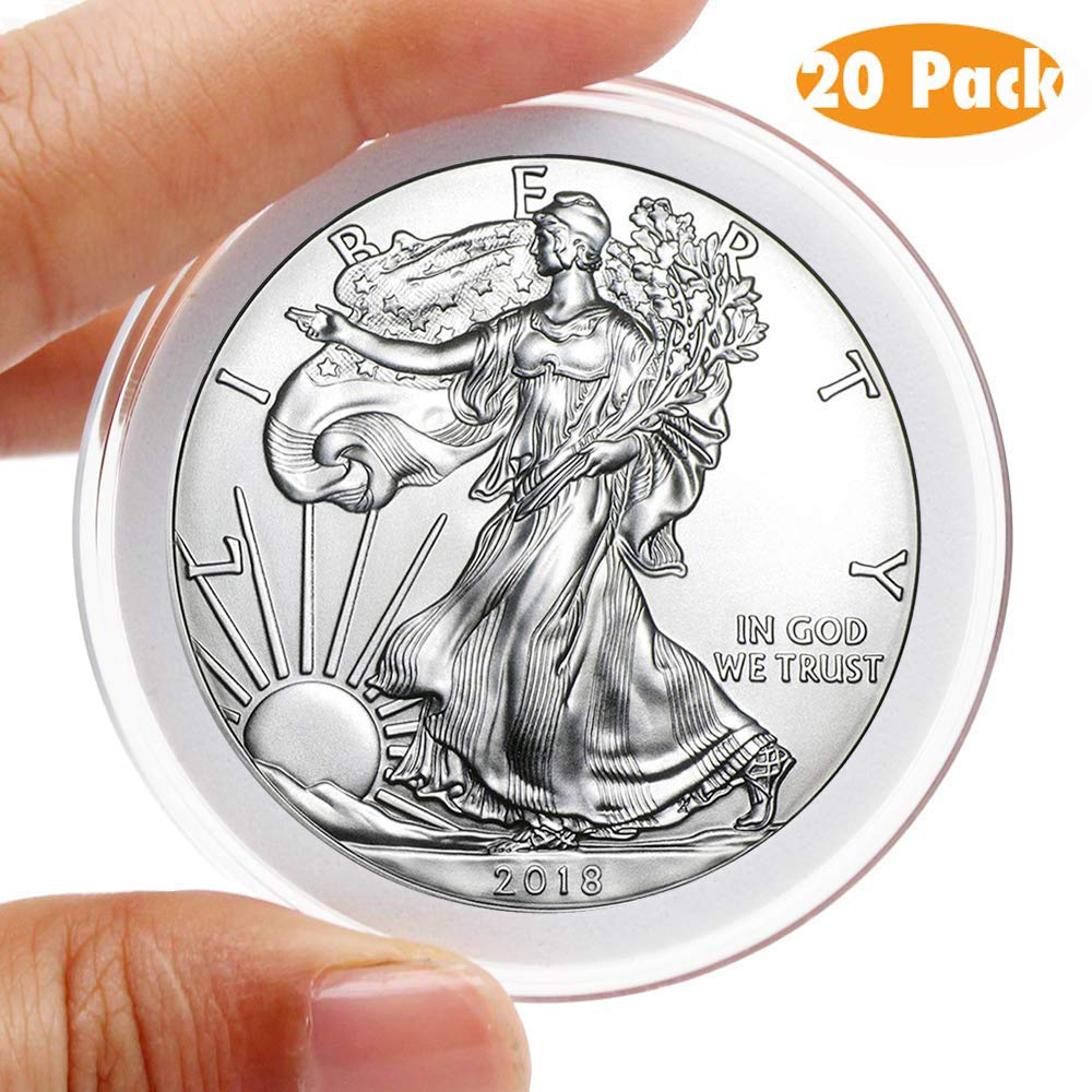 10 pcs 19 mm Clear Round Cases Coin Storage Capsules Holder Round Plastic BICA