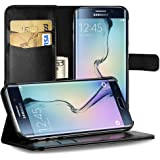 EasyAcc Samsung Galaxy S6 Edge Leather Wallet Flip Case Bumper Cover Full Body Protector Folio Holster Case with kickstand Card Holder for Samsung Galaxy S6 Edge - Black
