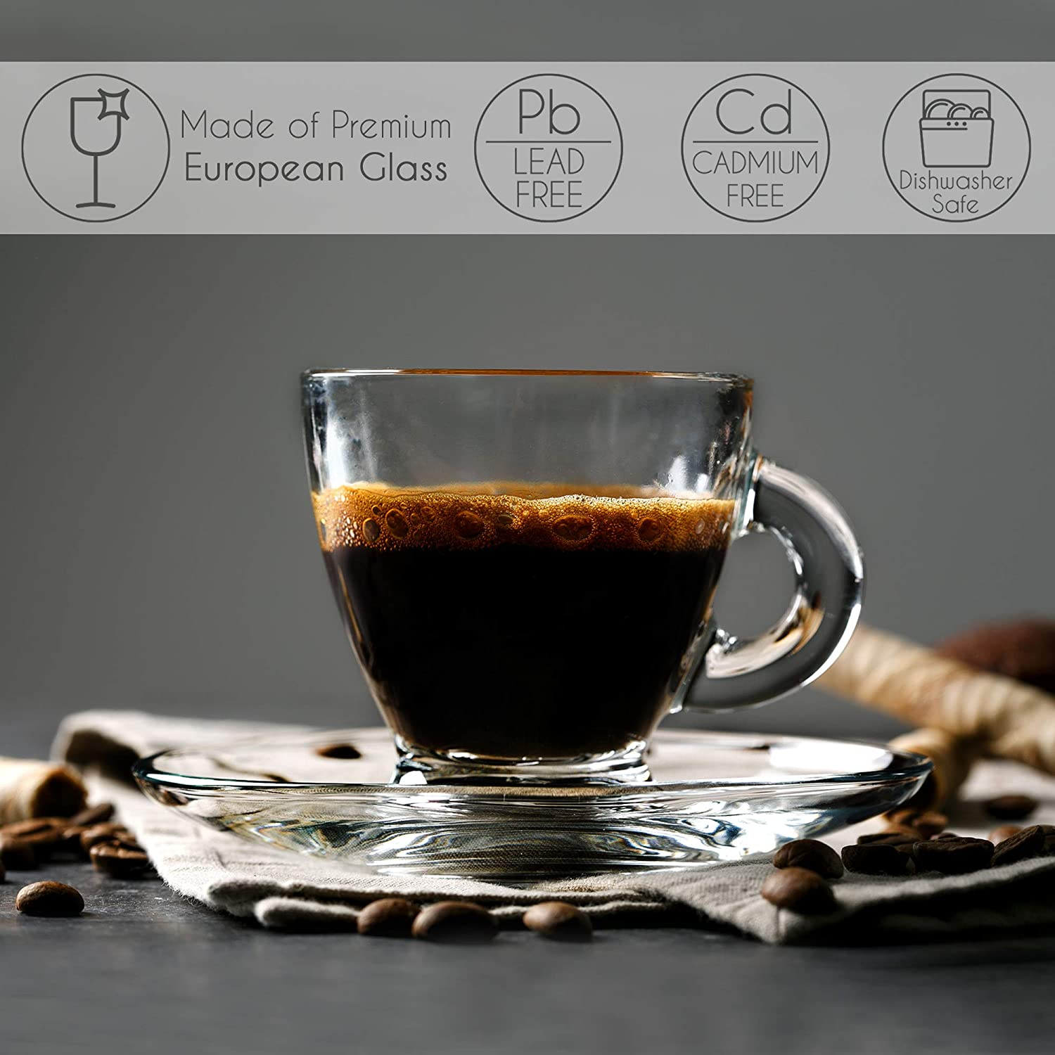 Espresso Cups with Saucers, Demitasse Clear Glass Drinkware, Set of 6 Cups and 6 Saucers for Turkish Coffee, Tea and Espresso Lover