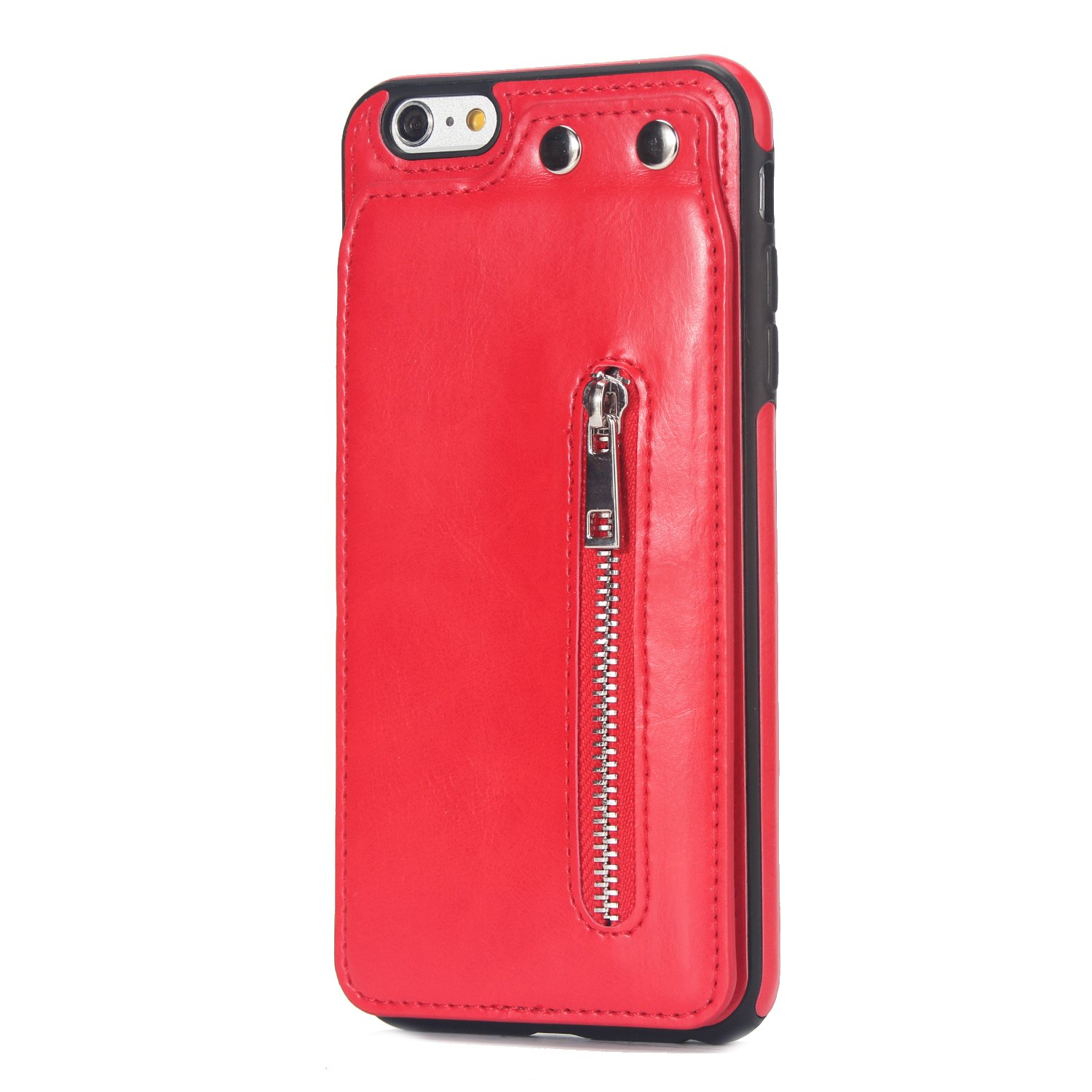 Case for iPhone 6/iPhone 6S Flip Case Premium PU Leather Wallet Cover with Card Holder Money Pocket Durable Shockproof Protective Cover for iPhone 6/6S,Red by ikasus