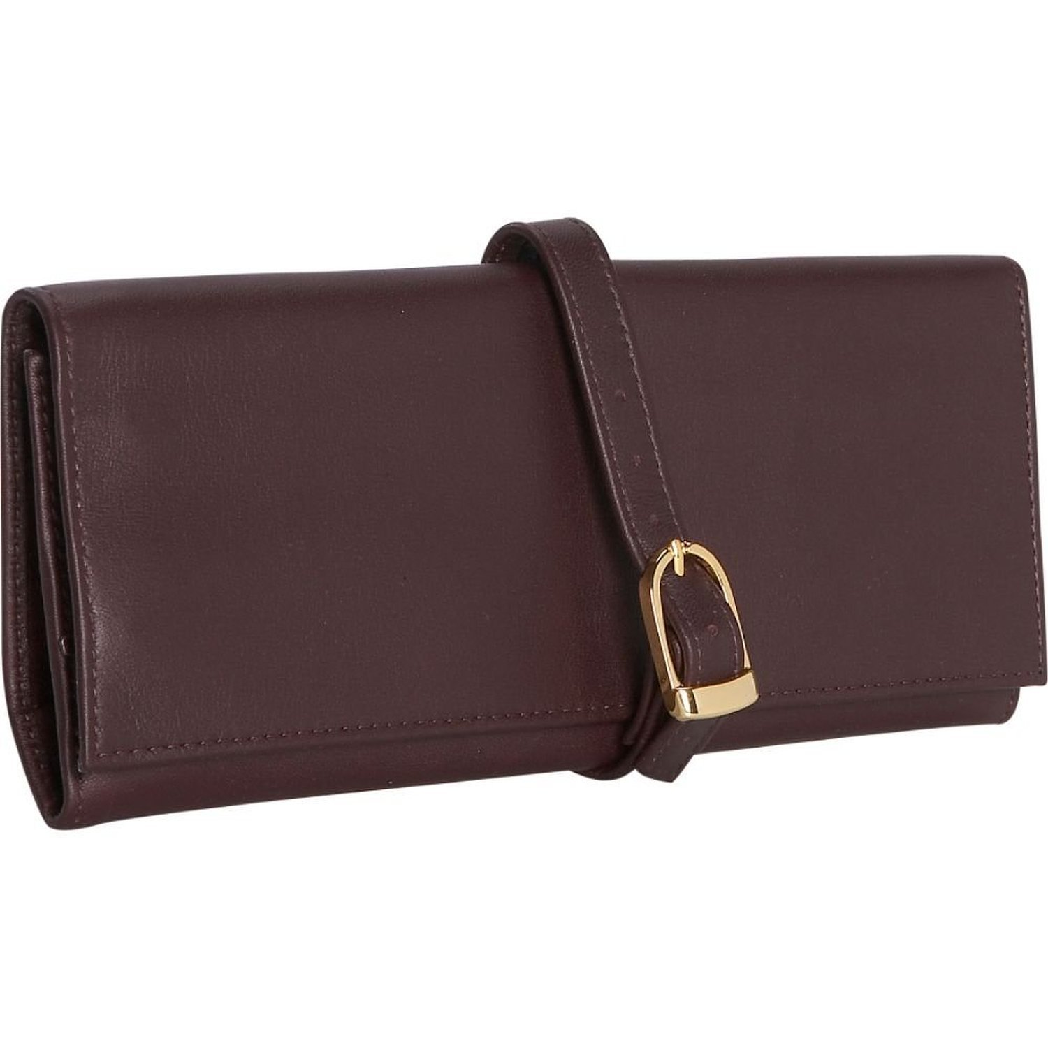 Royce Leather Suede Lined Jewelry Roll (Burgundy)