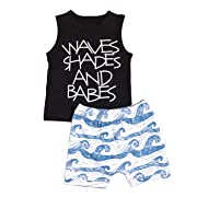 Baby Boy Clothes Waves Shades and Babes Print Summer Sleeveless Tops and Wave Short Pants Outfits Set(0-6months)