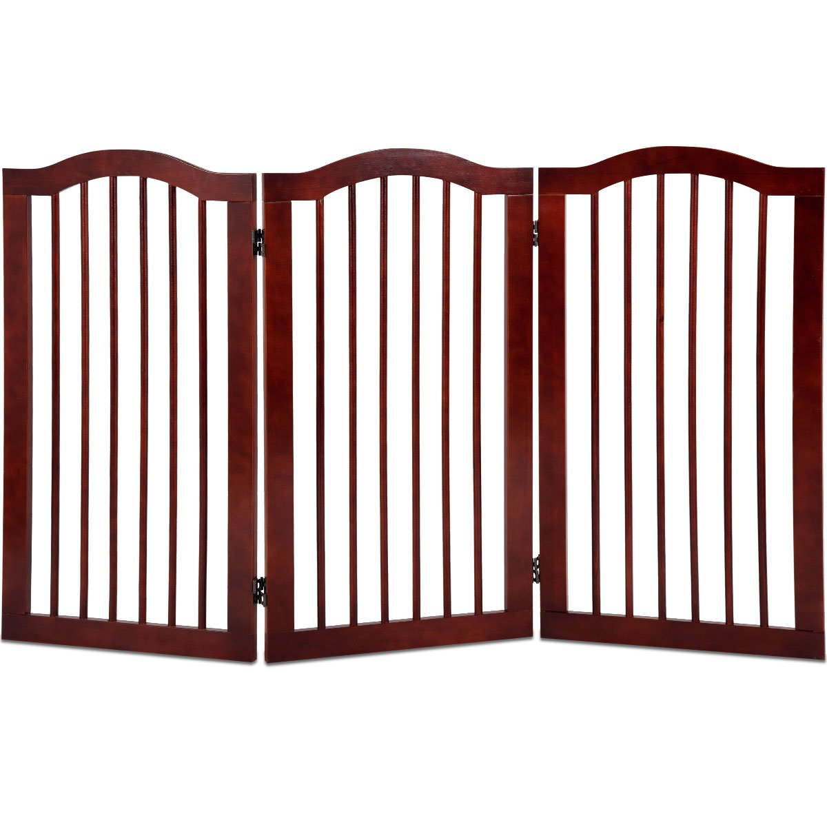 3 Panel 91CM Height GYMAX. Folding 3 4 Panel Pet Gate Dog Fence Freestanding Safety Guard Pet Door Barrier Indoor 61cm 91cm Height (3 Panel 91CM Height)