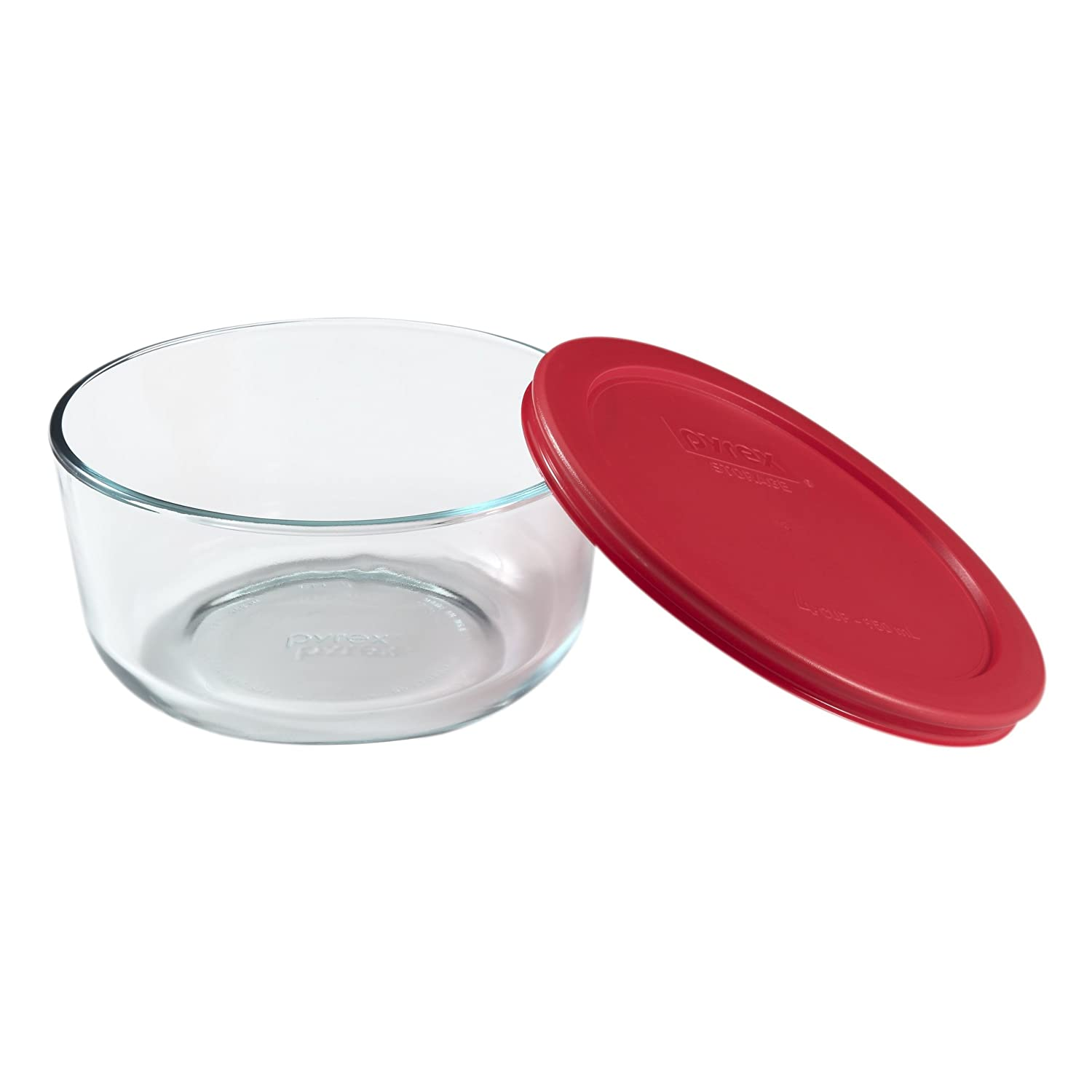 Pyrex Simply Store Glass Round Food Container with Red Lid (4-Cup)