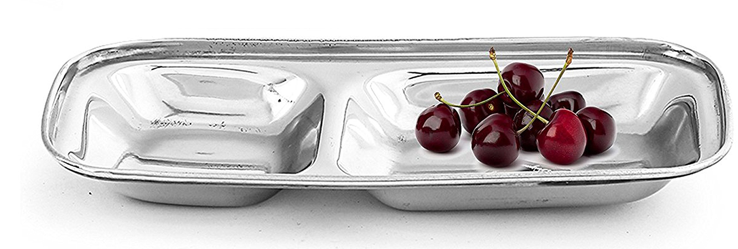 King International 100% Stainless Steel Two in one Dinner Plate Two sections divided plate Two section plate -Set of 6 Mess Trays Great for Camping, 21 cm