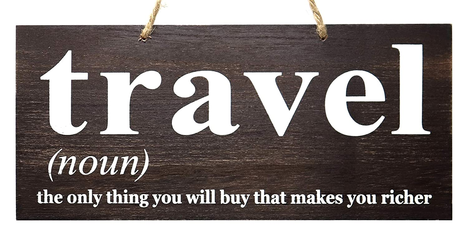 JennyGems Travel Sign, Wood Sign - Travel The Only Thing You Will Buy That Makes You Richer - Travel Decor Wall Art - Travel Themed Gift Sign - Wanderlust Sign