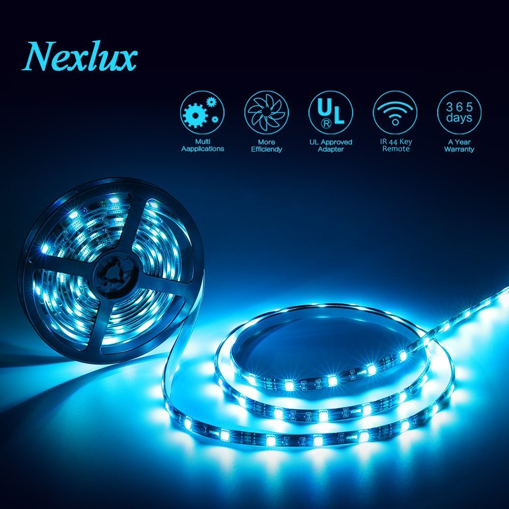 Nexlux LED Strip Lights, 16.4 ft Color Changing Light Strip 5050 SMD RGB LED Flexible Strip Lights Black PCB Board Decoration Lighting 44 keys IR Remote Controller UL Power Adapter by Nexlux (Image #4)
