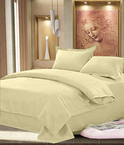 JBG Home Store Cotton Double Bedsheet With Pillow Covers-Beige