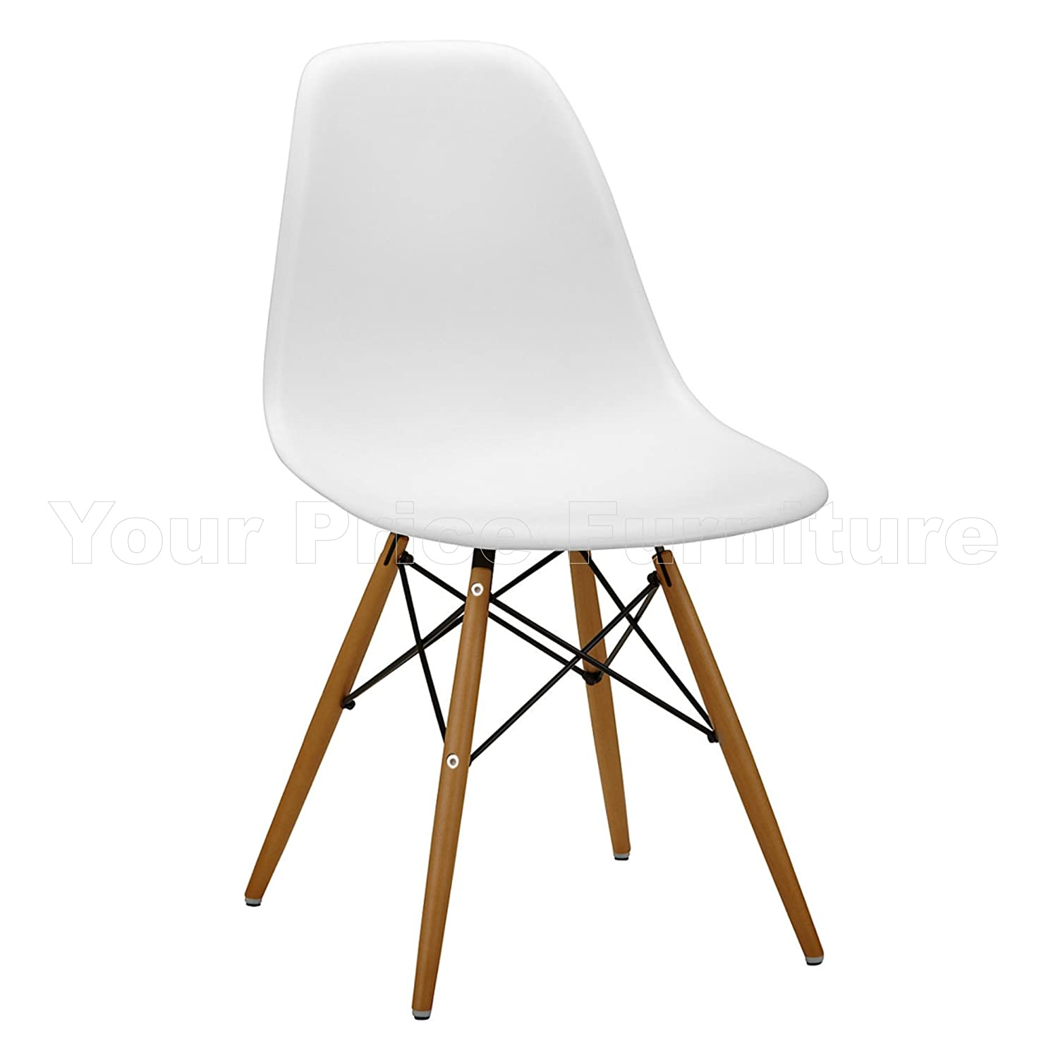 6 White Eames Inspired ABS Dining Chairs DSW Eiffel Side Dining