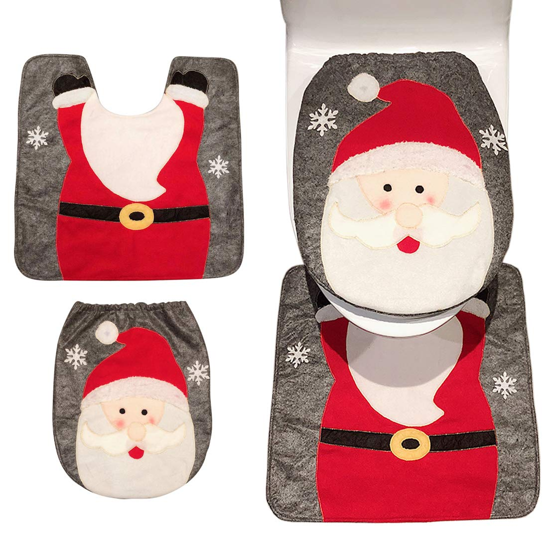 Christmas Decoration Santa Toilet Seat Cover & Rug Set, 2018 Festival Home Bathroom Decor Accessories - Reindeer MansWill
