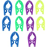 TinkSky 10pcs Portable Travel Folding Plastic Clothes Coat Hangers Racks (Random Color)