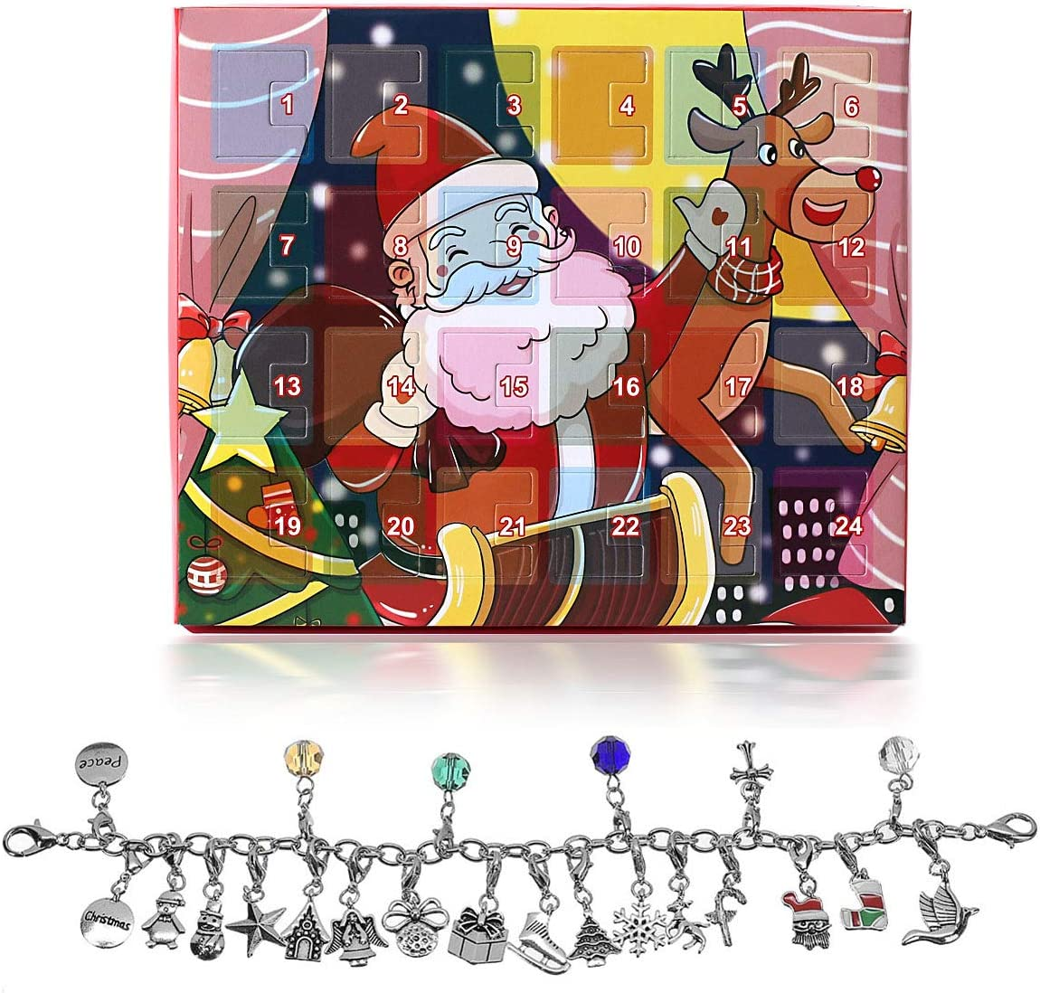 ZKer Christmas Countdown Calendar 2020, Jewelry Advent Calendar Girls Christmas Calendar Gift DIY Bracelet Necklace Set w/ 22 DIY Charms Fashion Jewelry for Christmas Thanksgiving Day