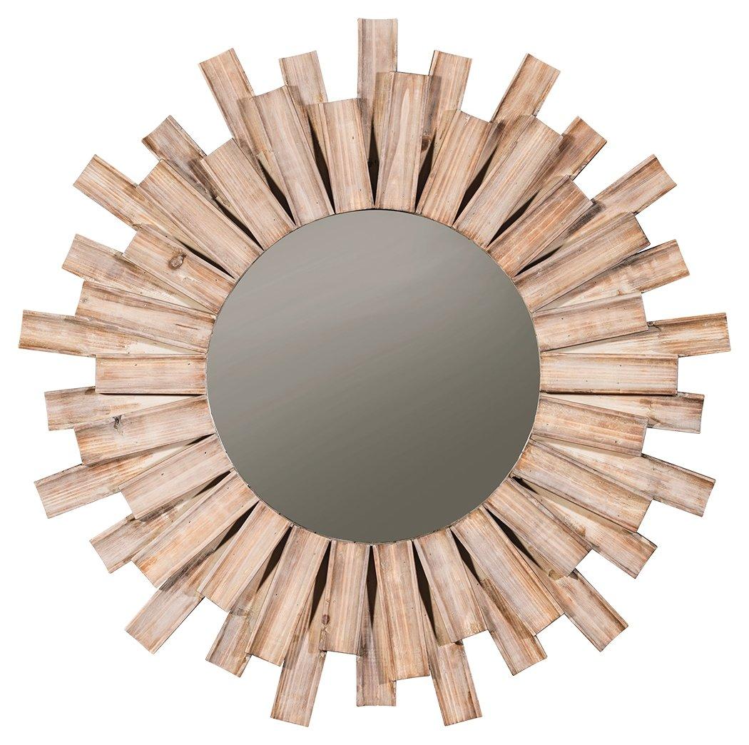 Ashley Furniture Signature Design - Donata Accent Mirror - Natural Finished Wood in Sunburst Design
