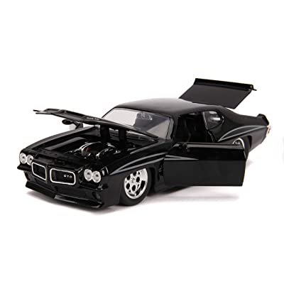 Jada Toys Big Time Muscle 1971 Pontiac GTO 1:24 Scale diecast Model cat, Glossy Black: Toys & Games