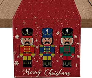 Artoid Mode Merry Christmas Nutcrackers Table Runner, Seasonal Winter Xmas Holiday Tablecloth Kitchen Dining Table Linen for Indoor Outdoor Home Party Decor 13 x 72 Inch