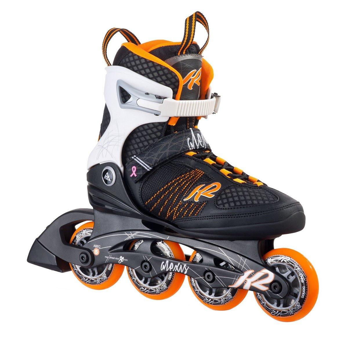 K2 Skate Women's Alexis 80 Inline Skates, Black/Tangerine, 9