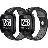 Fundro Band Compatible with Fitbit Versa/Versa Lite Edition Large Small, Soft Silicone Strap Replacement Wristband for Fitbit Versa 2-Pack