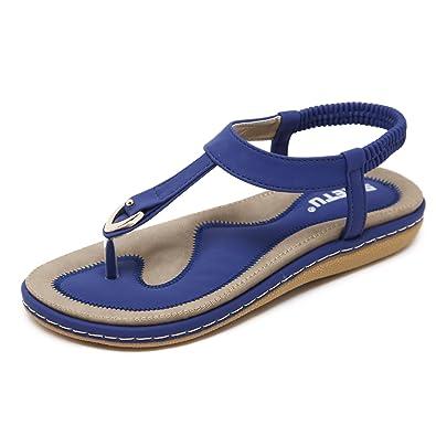 katliu Damen Sommer Sandalen Böhmische Zehentrenner Sommerschuhe Frauen Flach Outdoor Schuhe,Blau 37