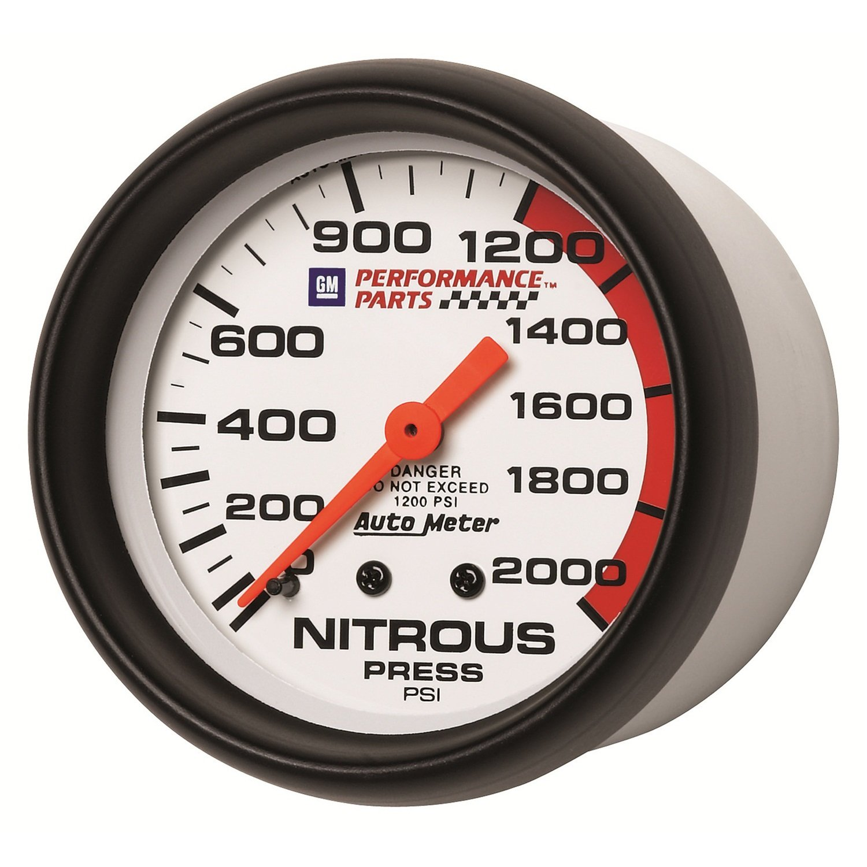 Auto Meter 5828-00407 GM Performance Parts 2-5//8 0-2000 PSI Mechanical Nitrous Pressure Gauge