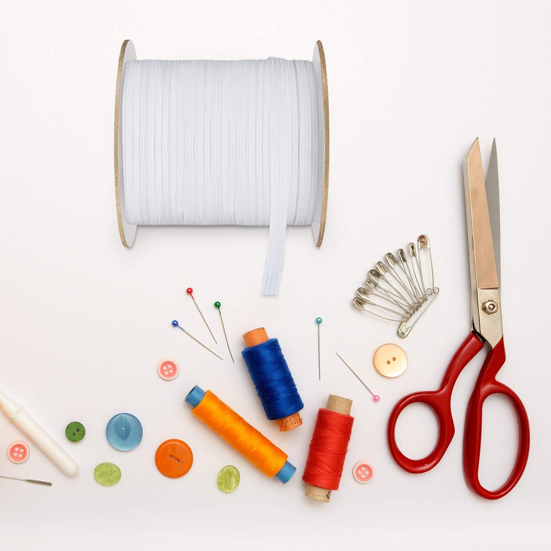 White Wide Sewing Elastic Knit Elastic Spool 1//4 Inch x 110 Yards