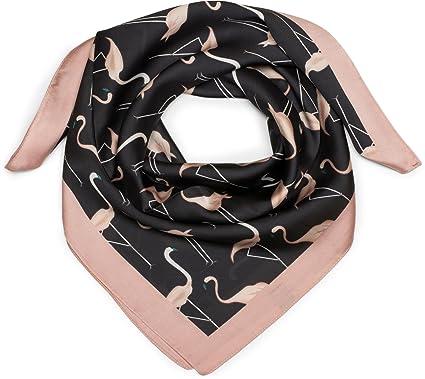 styleBREAKER Petit foulard triangulaire en soie avec imprimé à flamants  roses et bord de couleur différente, voile, fichu, femmes 01016164, ... c3794968e38
