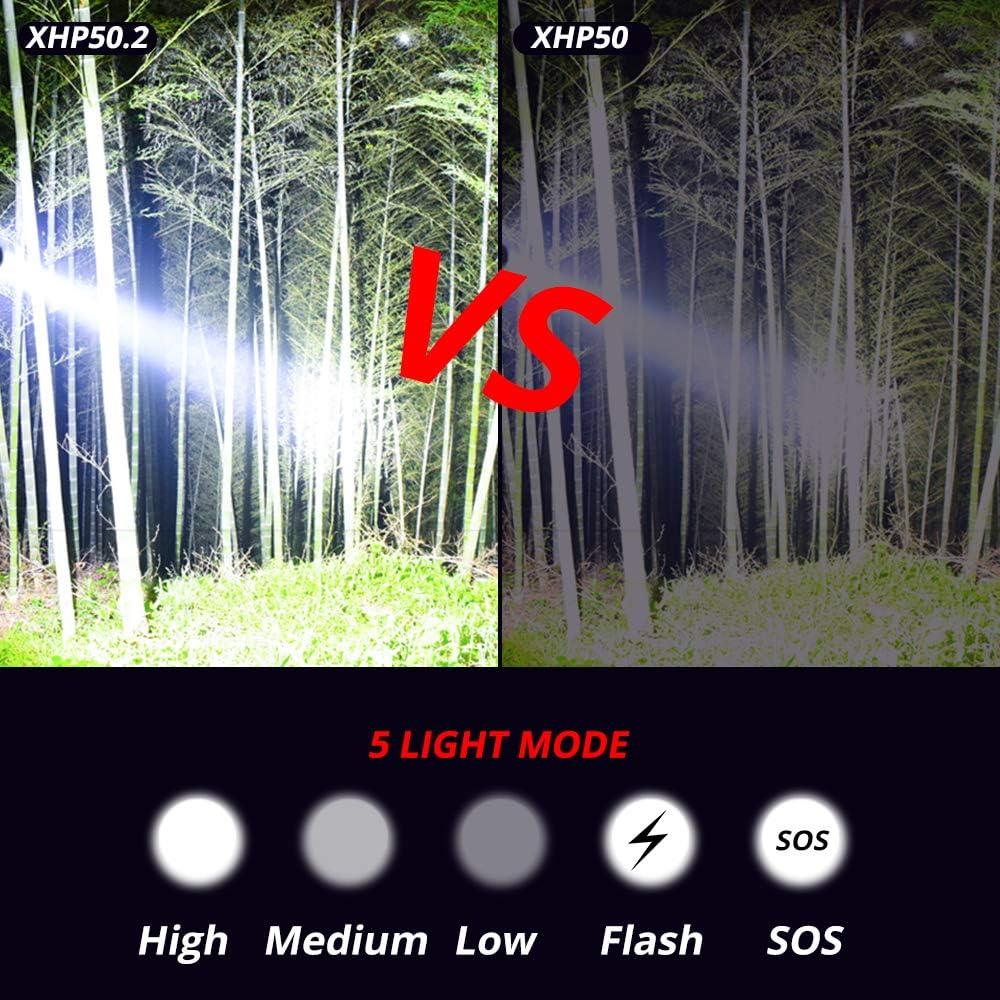 YHML High-Power XHP50.2 Flashlight Waterproof Flashlight Glare Flashlight Lamp Powerful Lantern Flashlight USB Charging Long-Range Outdoor LED Hunting Flashlight Package A