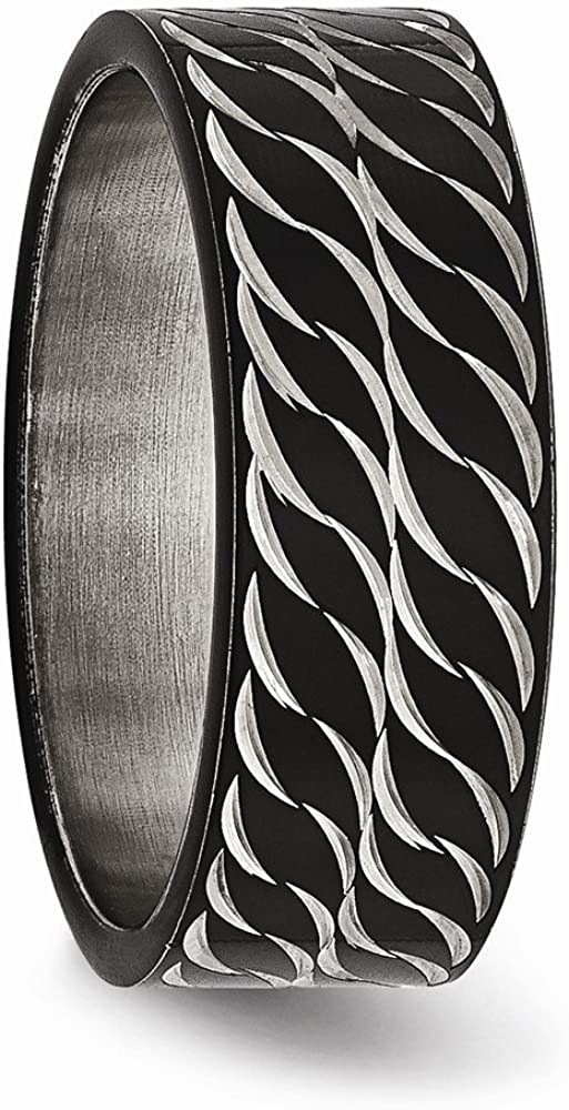 Bridal Wedding Bands Decorative Bands Stainless Steel Polished Black IP Diamond-Cut Ring Size 13