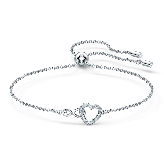 Swarovski Pulsera Infinity Heart, Blanco, baño de rodio