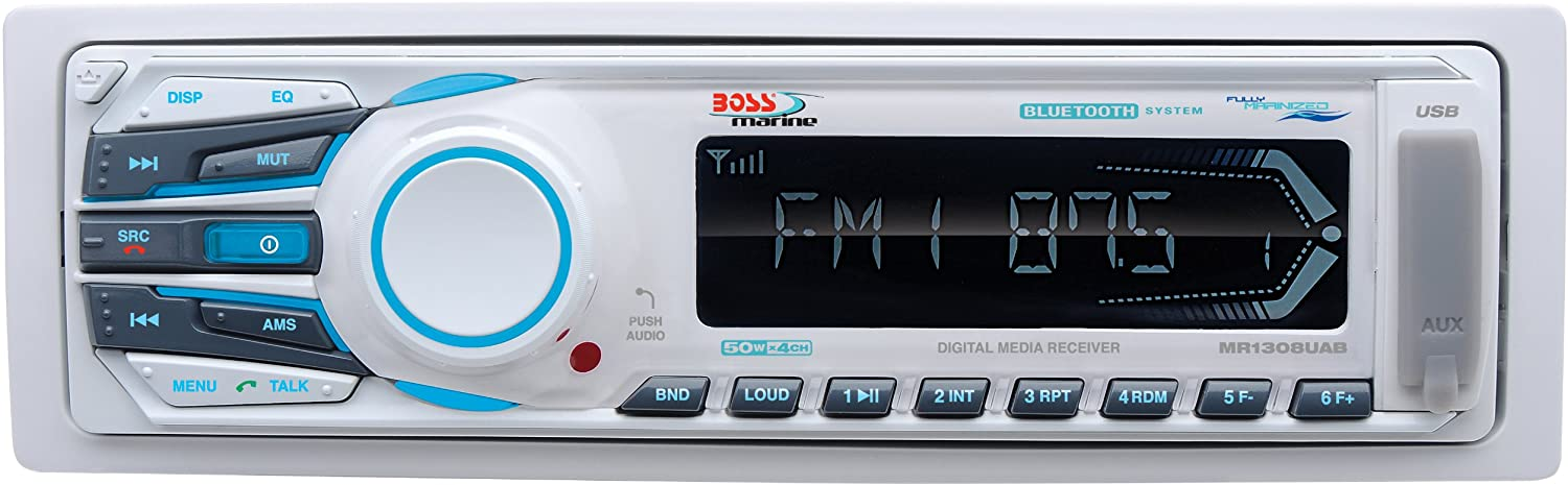 BOSS Audio Systems MR1308UAB Marine Receiver - Weatherproof, Bluetooth Audio, USB, SD, MP3, AM/FM, Aux-in, No CD Player