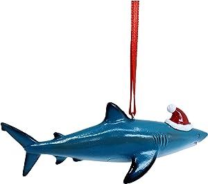 Shark with Santa Hat Christmas Tree Ornament