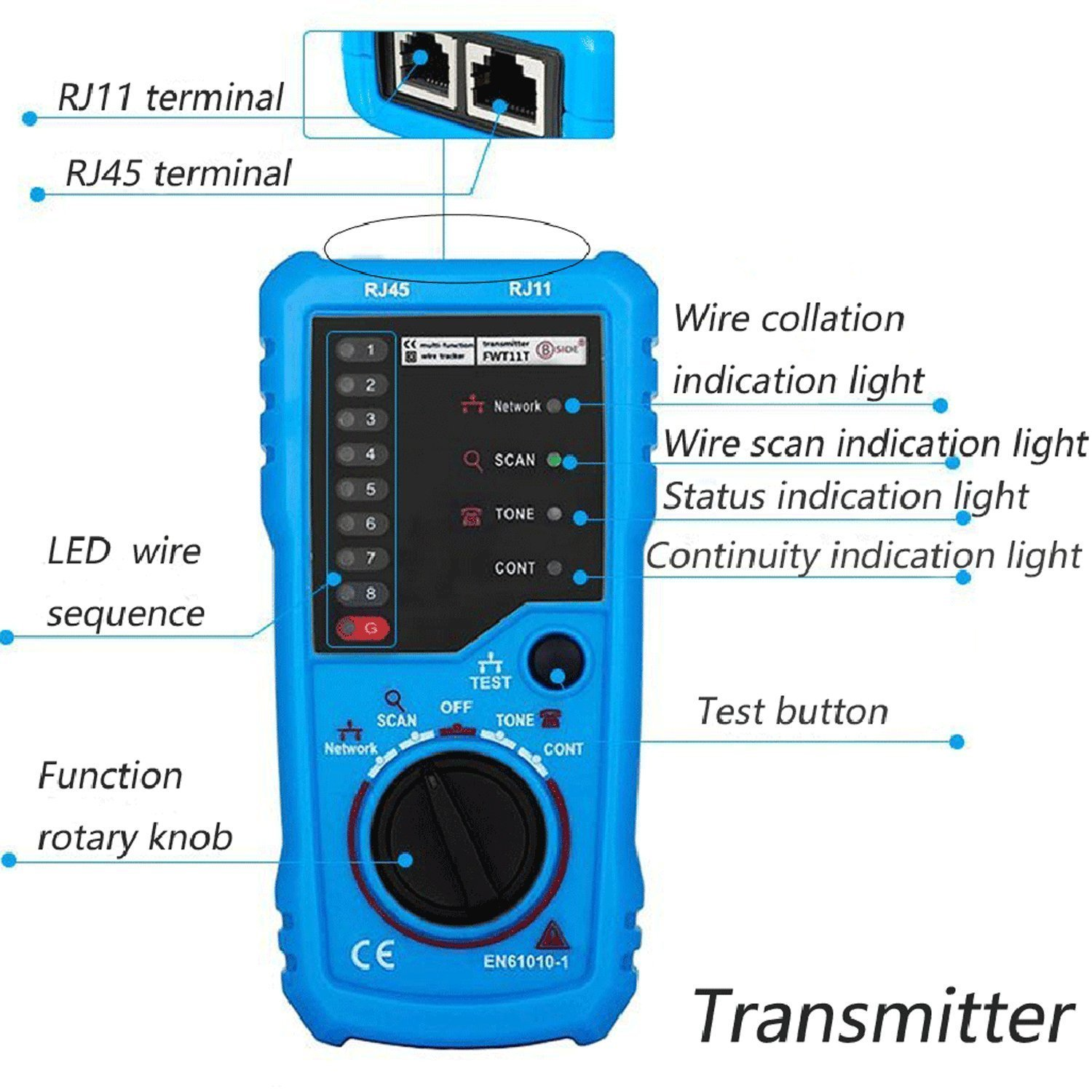 Wire Tracker Rj11 Rj45 Cable Tester Line Finder Multifunction Audio Wiring Tracer Toner Ethernet Lan Network For Collation