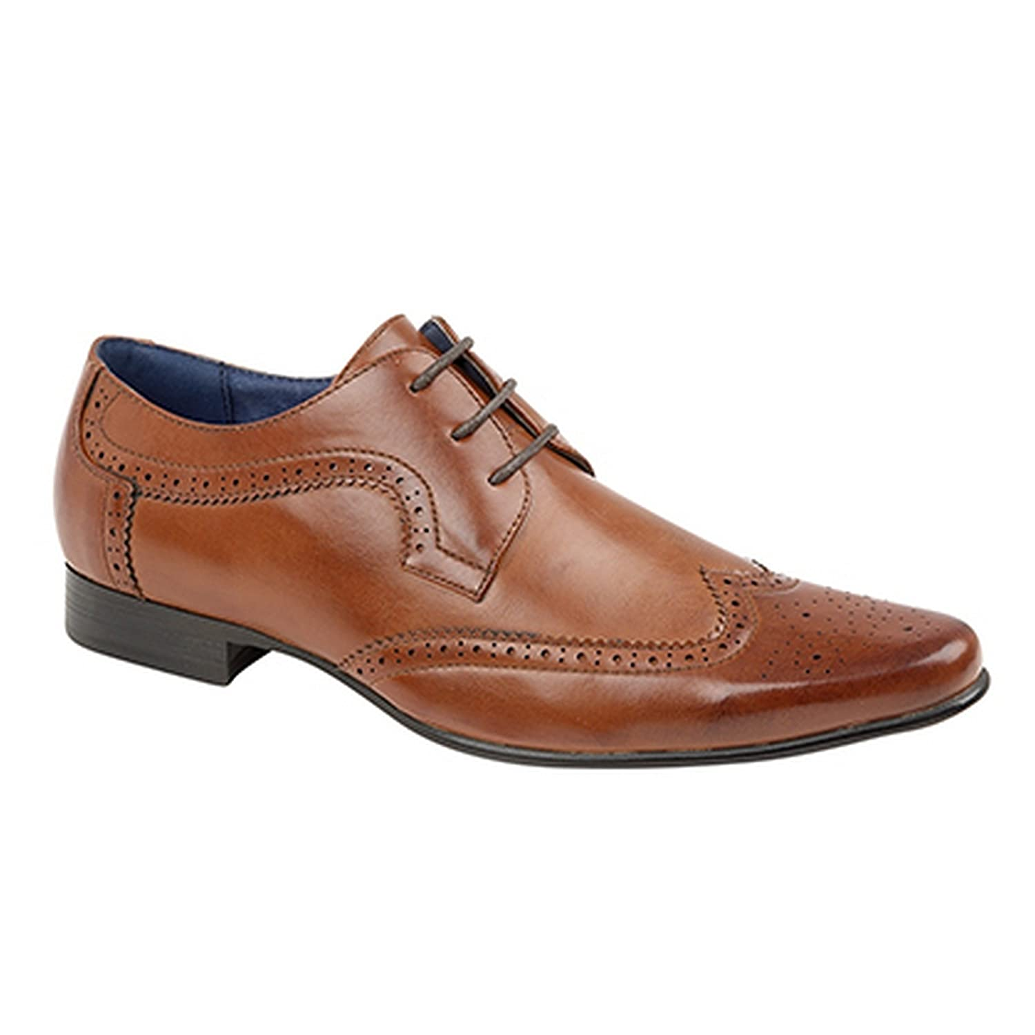MENS ROUTE 21 TAN 3 EYELET BROGUE GIBSON LACED  SHOES 7