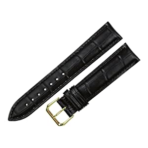 RECHERE Alligator Crocodile Grain Leather Watch Band Strap Gold Pin Buckle Color Black Brown Blue Red White