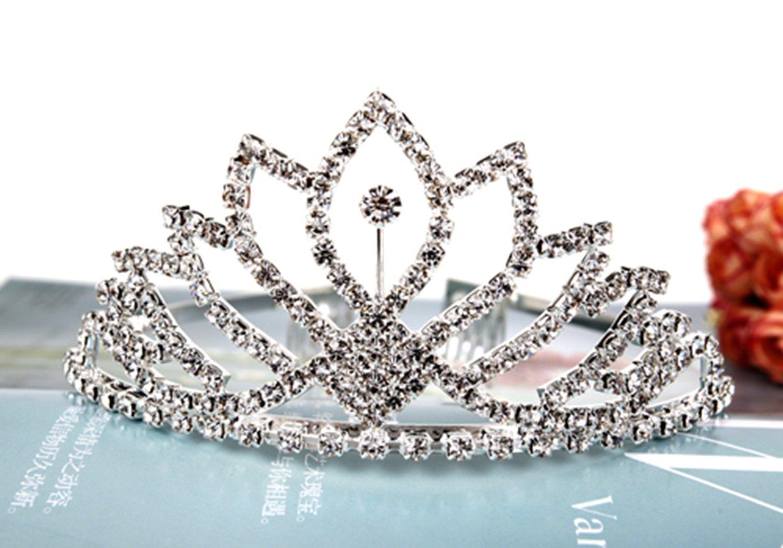 Vinida Crystal Tiara Crown Headband for Wedding Prom Bridal Birthday (Sliver) HG000