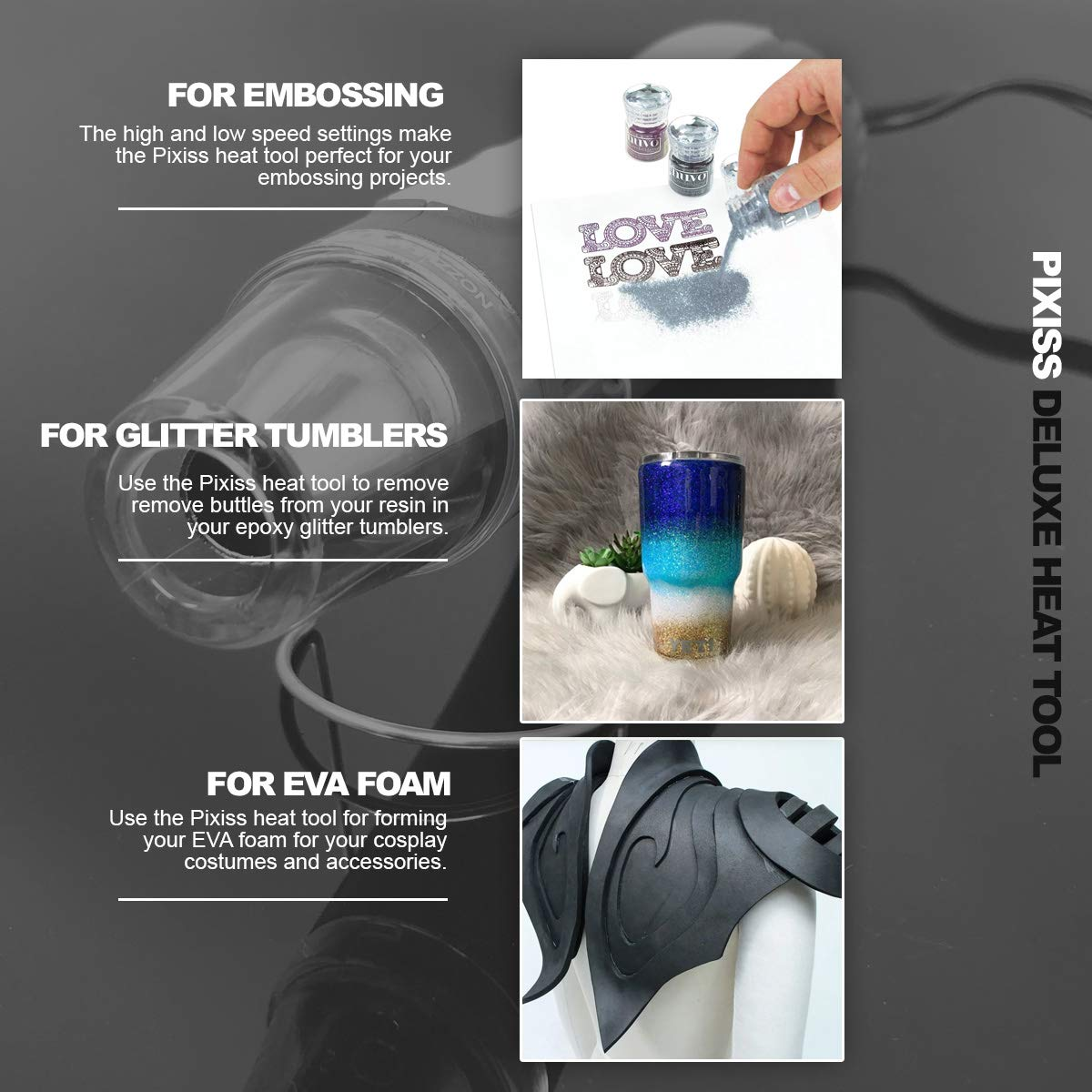 Dual Temperature Speed Professional Heat Tool for EVA Foam Cosplay Shrink Wrap Candles Crafts Embossing Arts Pixiss Heat Tool Embossing Heat Gun