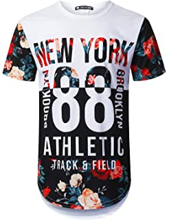 31169b30cdf URBANTOPS Mens Hipster Hip Hop Floral Graphic Longline T-Shirt (Various  Styles)