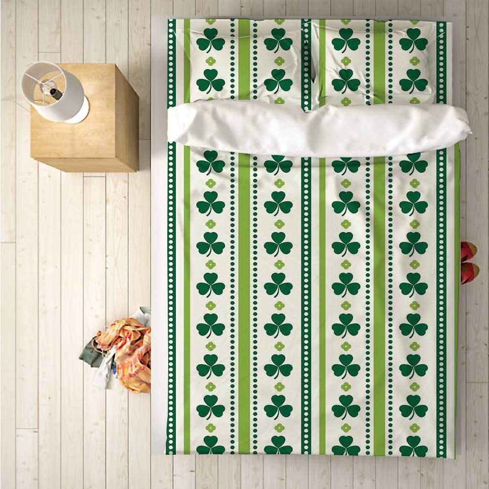 Floral Soft 4 Piece Bedding Set,Clovers Vertical Lines and Dots Irish Traditional Floral Pattern for Bedroom,One Side Print : Singe