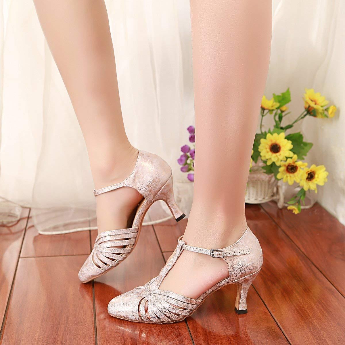 Qiusa GL259 GL259 GL259 Frauen T-Strap Mode Synthetische Latin Ballroom Dance Schuhe Party Pumps (Farbe   Rosa-7.5cm Heel Größe   2 UK) 99011b
