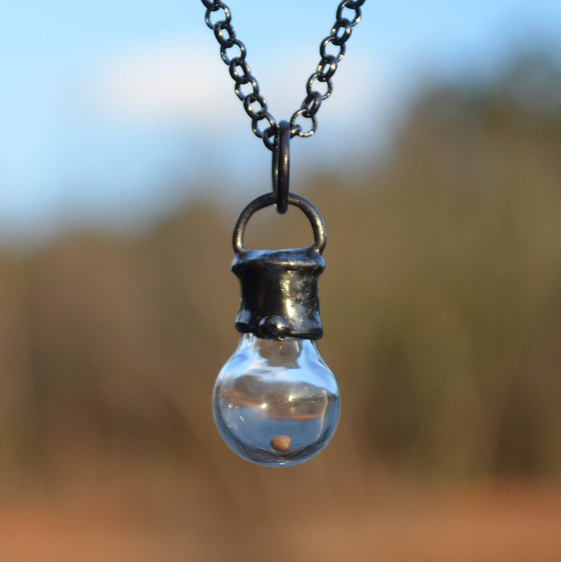 Handmade Faith of a Mustard Seed, Hand Blown Glass Bottle Pendant, Christian Communion Gift Necklace 2705