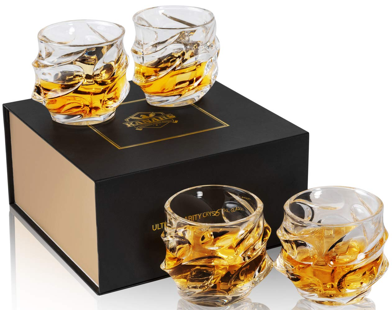 KANARS Emperor Whiskey Glasses - Set of 4 - Rock Style Old Fashioned Cocktail Glass - Premium Crystal Tasting Tumblers for Scotch or Bourbon - Unique Elegant Gift Box For Wedding