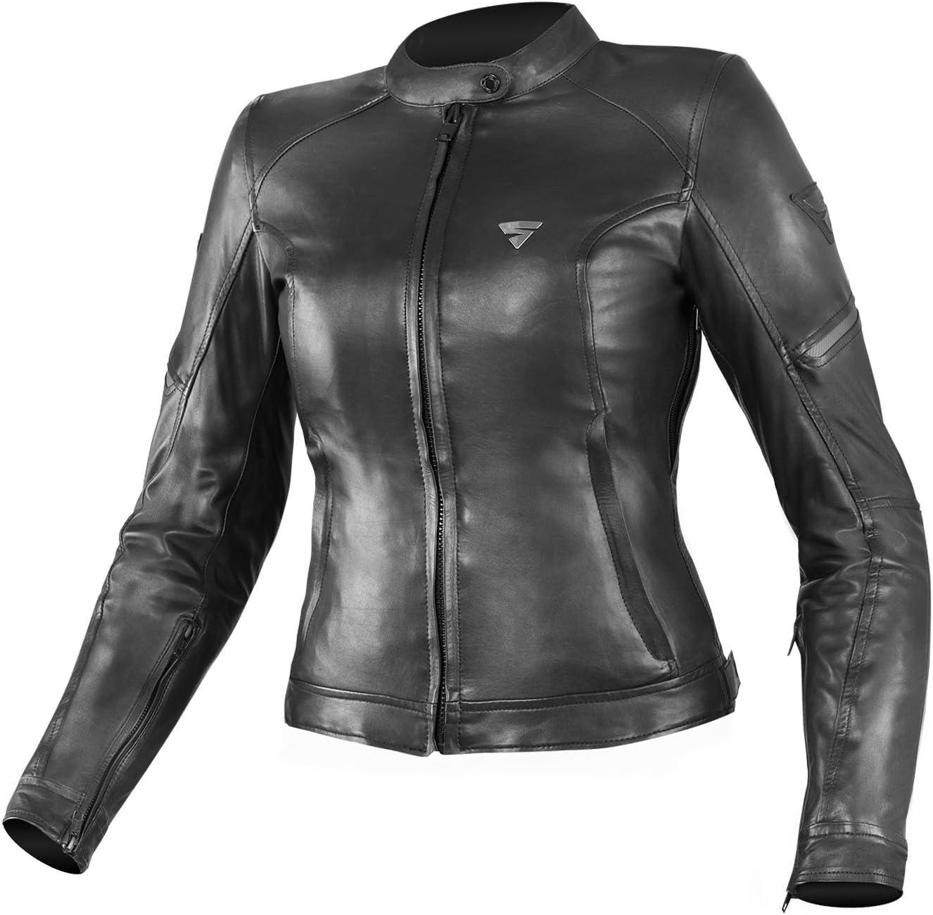 SHIMA MONACO BLACK, Chaqueta clásica de cuero vintage para damas de motocicleta (Negro, M)
