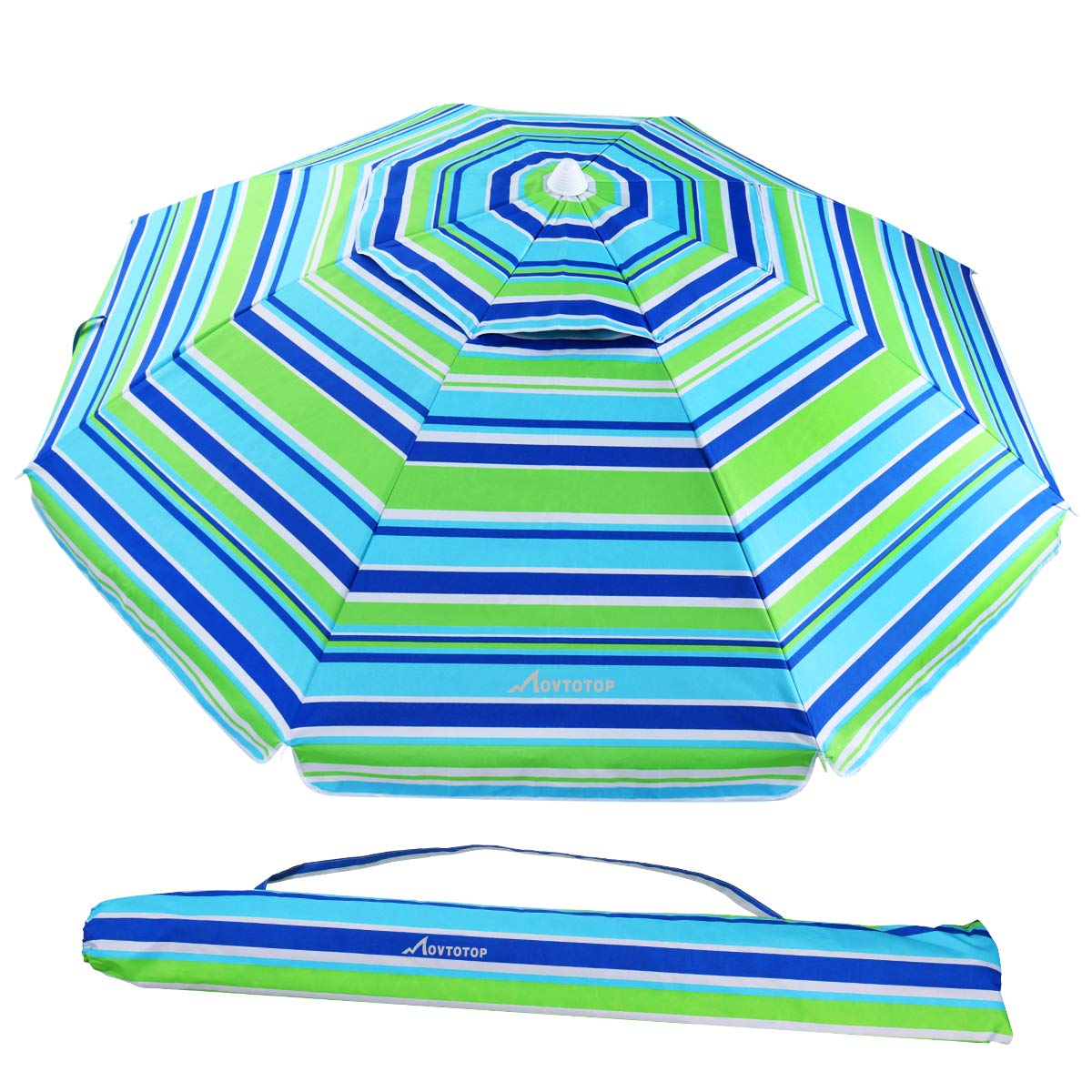 MOVTOTOP Beach Umbrella, 6.5ft Sand Anchor with Tilt Aluminum Pole, Portable UV 50+ Protection Beach Umbrella with Carry Bag for Outdoor Patio, Blue/Green by MOVTOTOP