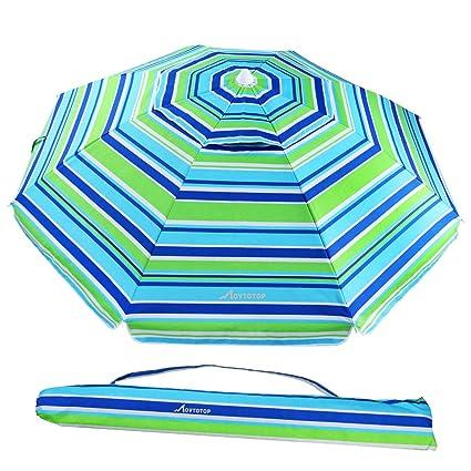 427d5cf17 MOVTOTOP Beach Umbrella, 6.5ft Sand Anchor with Tilt Aluminum Pole,  Portable UV 50