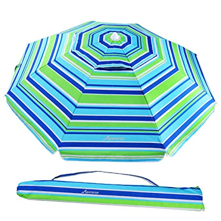MOVTOTOP Beach Umbrella, 6.5ft Sand Anchor with Tilt Aluminum Pole, Portable UV 50 Protection Beach Umbrella with Carry Bag for Outdoor Patio, Blue Green